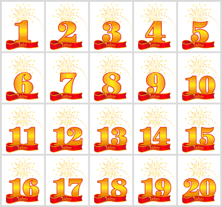 Set of gold numbers from 1 to 20 and the word of the year on the background of a red ribbon. Vector illustration. Translated from the German - Years