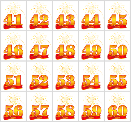 Set of gold numbers from 41 to 60 and the word of the year on the background of a red ribbon. Vector illustration. Translated from the German - Years
