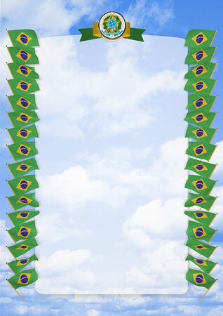 salon background: Frame and Border with flag and coat of arms Brazil. 3d illustration