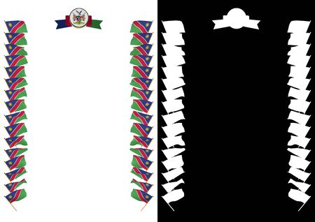 Frame and Border with flag and coat of arms Namibia. 3d illustration