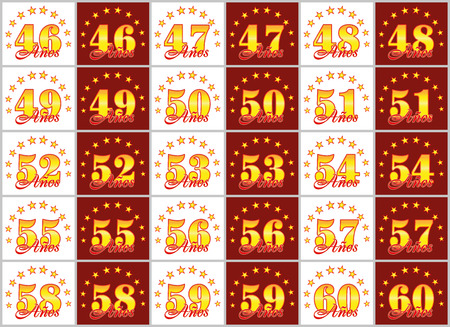 Set of gold numbers from 46 to 60 and the word of the year decorated with a circle of stars. Vector illustration. Translated from Spanish - Years