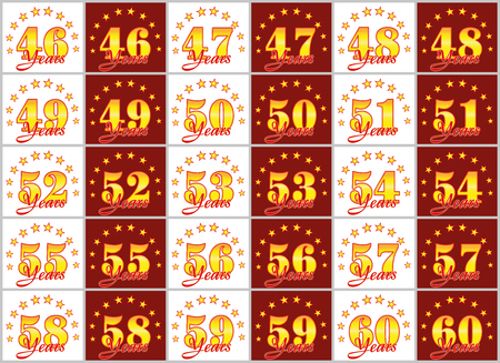 Set of gold numbers from 46 to 60 and the word of the year decorated with a circle of stars. Vector illustration Stock Vector - 87930604
