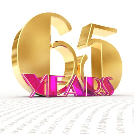 Golden number sixty five (number 65) and the word years against the backdrop of the prospect of greeting text. 3D illustration Stock Photo