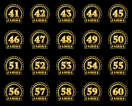 Set of gold numbers from 41 to 60 and the word of the year decorated with a circle of stars. Vector illustration. Translated from German - Years Stock Vector - 88775368