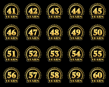 Set of gold numbers from 41 to 60 and the word of the year decorated with a circle of stars. Vector illustration.
