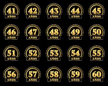 Set of gold numbers from 41 to 60 and the word of the year decorated with a circle of stars. Vector illustration. Translated from Spanish - Years Illustration