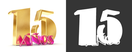Number fifteen years (15 years) celebration design. Anniversary golden number template elements for your birthday party. Translated from Spanish - Years. 3D illustration