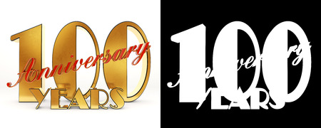 Golden number one hundred (number 100) and the word years against the backdrop of the prospect of greeting text. 3D illustration Stock Photo