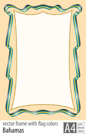 Frame and border of ribbon with the colors of the Bahamas flag.