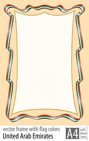 Frame and border of ribbon with the colors of the United Arab Emirates flag, with protective grid. Vector, with bleed three mm.