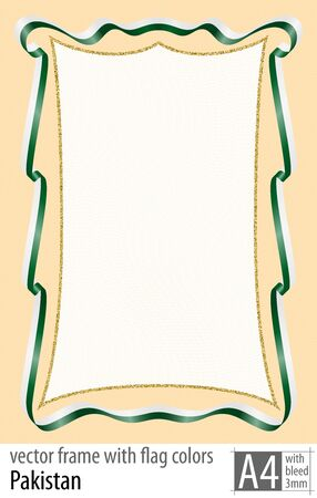 Frame and border of ribbon with the colors of the Pakistan flag, with protective grid. Vector, with bleed three mm.