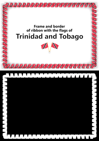 Frame and border of ribbon with the Trinidad and Tobago flag for diplomas, congratulations, certificates. Alpha channel. 3d illustration