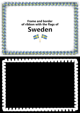 Frame and border of ribbon with the Sweden flag for diplomas, congratulations, certificates. Alpha channel. 3d illustration