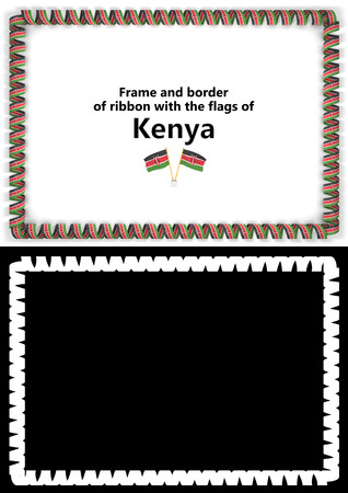 Frame and border of ribbon with the Kenya flag for diplomas, congratulations, certificates. Alpha channel. 3d illustration