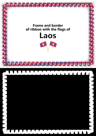 Frame and border of ribbon with the Laos flag for diplomas, congratulations, certificates. Alpha channel. 3d illustration