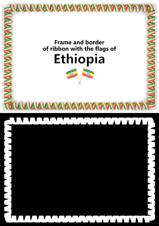 Frame and border of ribbon with the Ethiopia flag for diplomas, congratulations, certificates. Alpha channel. 3d illustration