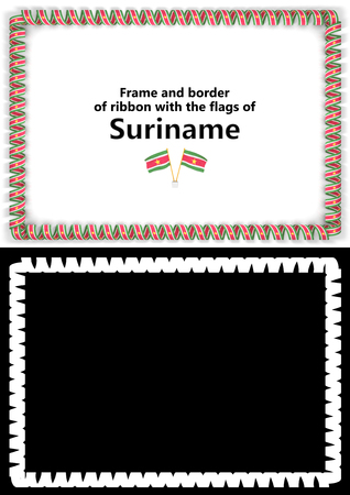 Frame and border of ribbon with the Suriname flag for diplomas, congratulations, certificates. Alpha channel. 3d illustration
