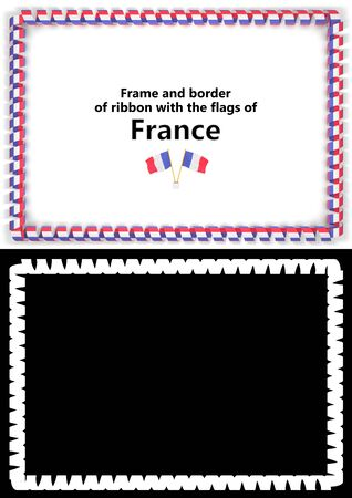 Frame and border of ribbon with the France flag for diplomas, congratulations, certificates. Alpha channel. 3d illustration Foto de archivo