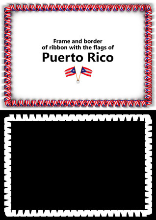Frame and border of ribbon with the Puerto Rico flag for diplomas, congratulations, certificates. Alpha channel. 3d illustration