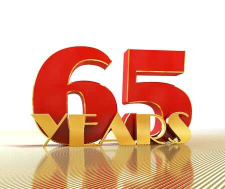 Golden number sixty five (number 65) and the word years against the backdrop of the prospect of gold lines. 3D illustration