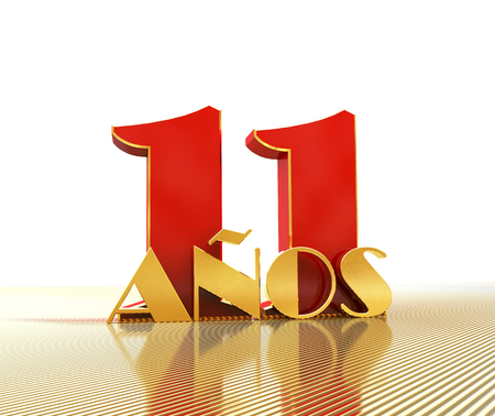 Golden number eleven (number 11) and the word years against the backdrop of the prospect of gold lines. Translated from the Spanish - years. 3D illustration Banco de Imagens