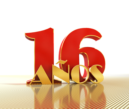 Golden number sixteen (number 16) and the word years against the backdrop of the prospect of gold lines. Translated from the Spanish - years. 3D illustration Stock Photo