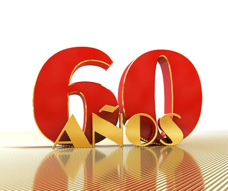 Golden number sixty (number 60) and the word