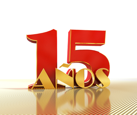 Golden number fifteen (number 15) and the word years against the backdrop of the prospect of gold lines. Translated from the Spanish - years. 3D illustration