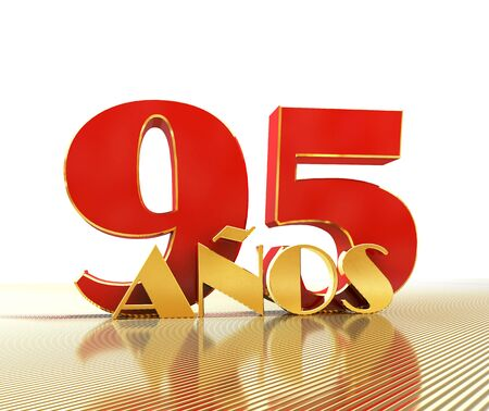 Golden number ninety five (number 95) and the word years against the backdrop of the prospect of gold lines. Translated from the Spanish - years. 3D illustration