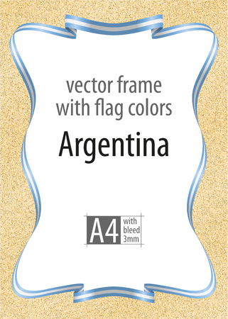 Frame and border of ribbon with the colors of the Argentina flag, template elements for your certificate and diploma. Vector, with bleed 3mm.