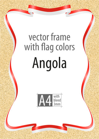 Frame and border of ribbon with the colors of the Angola flag, template elements for your certificate and diploma. Vector, with bleed three mm.