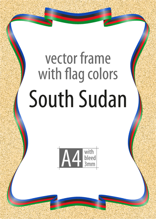 Frame and border of ribbon with the colors of the South Sudan flag, template elements for your certificate and diploma. Vector, with bleed 3mm.