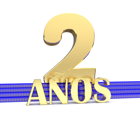 Golden number two and the inscription years on the blue stairs with golden symbols endless knot. Translated from the Spanish - years. 3D illustration