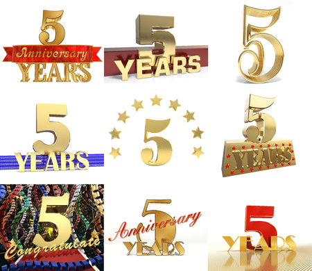 Set of number five years 5 years celebration design. Anniversary golden number template elements for your birthday party. 3D illustration