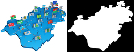 Isometric map of Kaluga Region with flags of regional centers. 3D isometric shape of Kaluga Region. 3D illustration.
