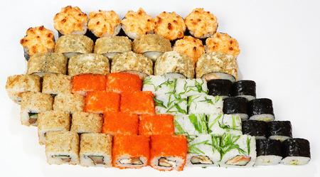 Rolls set (Kyoto, Skin roll, Keiko, Cucumber roll, Sakura).