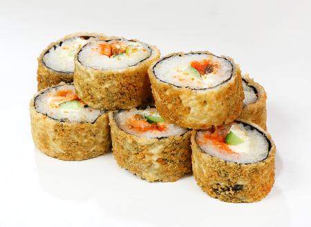 Warm rolls Tamasi (fried salmon, spice sauce, masago, philadelphia cheese, cucumber, tomato).