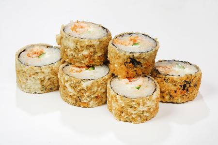 Warm rolls Shogun (Philadelphia cheese, cucumber, Masago, salmon skin in Kikkoman soy sauce).