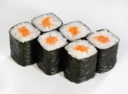 Rolls hosomaki. Thin rolls with salmon.
