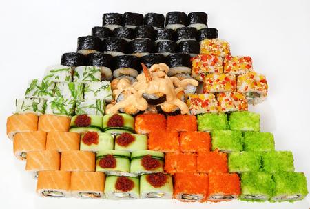 Rolls set (Philadelphia, California, Sakura, cucumber Hosomaki, avocado Hosomaki, shrimp Hosomaki, smoked salmon Hosomaki, Boston, Volcano, Kyoto, Wakayama).