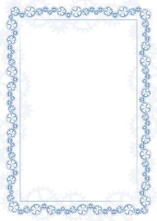 Blue frame and border with gear-type mechanism