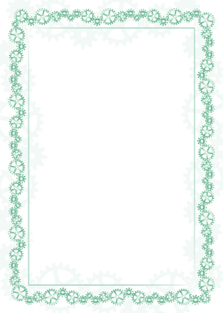 Green frame and border with gear-type mechanism