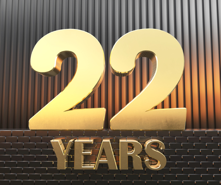 Golden number twenty two number 22 and the word years against the background of metal rectangular parallelepipeds in the rays of sunset. 3D illustration