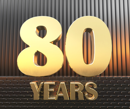 """Golden number eighty (number 80) and the word """"years"""" against the background of metal rectangular parallelepipeds in the rays of sunset, 3D illustration."""
