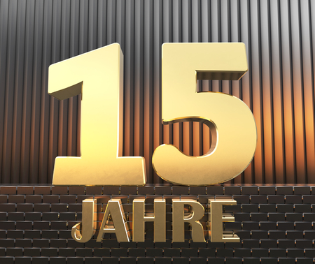 Golden number fifteen (number 15) and the word years against the background of metal rectangular parallelepipeds in the rays of sunset.  Translated from the German - years. 3D illustration.