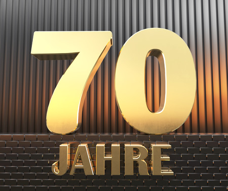 Golden number seventy (number 70) and the word years against the background of metal rectangular parallelepipeds in the rays of sunset.  Translated from the German - years. 3D illustration.