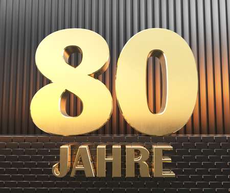 Golden number eighty (number 80) and the word years against the background of metal rectangular parallelepipeds in the rays of sunset.  Translated from the German - years. 3D illustration. Banco de Imagens