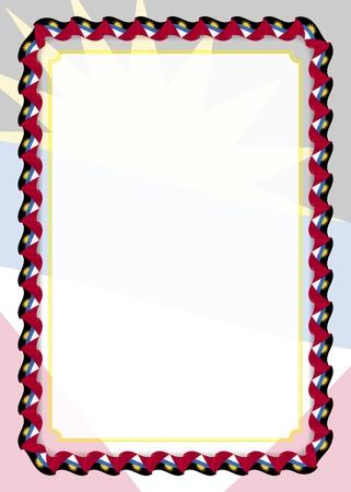 Cornice e bordo del nastro con bandiera di Antigua e Barbuda, elementi del modello per il certificato e il diploma. Vettore