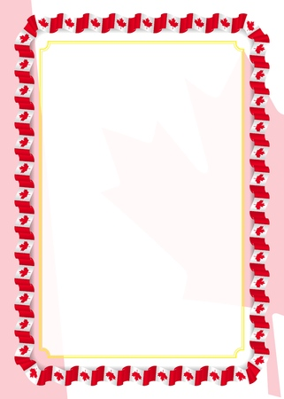 Frame and border of ribbon with Canada flag, template elements for your certificate and diploma. Vector.