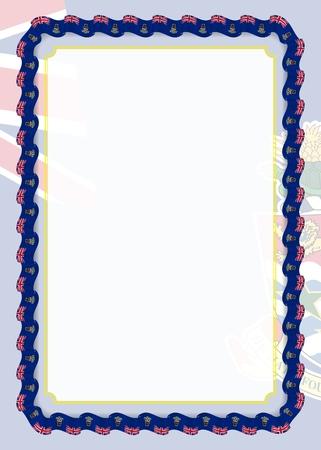 Cornice e bordo del nastro con bandiera delle Isole Cayman, elementi del modello per il certificato e il diploma. Vettore.